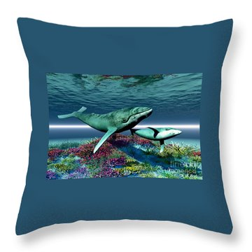 Whale Song Throw Pillow by Corey Ford