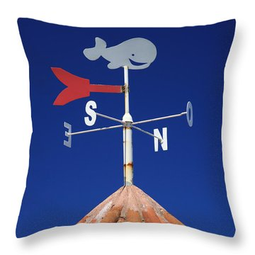 Whale Weather Vane Throw Pillow by Gaspar Avila