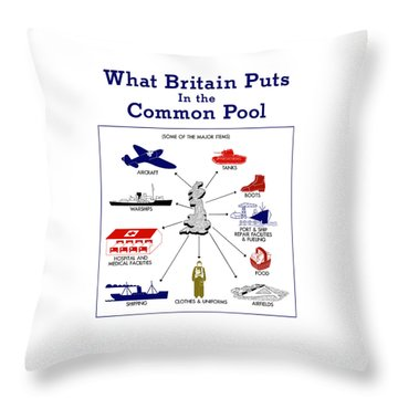 What Britain Puts In The Common Pool Throw Pillow by War Is Hell Store
