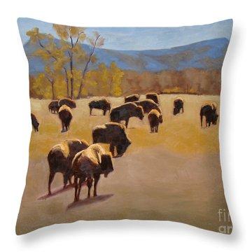 Where The Buffalo Roam Throw Pillow by Tate Hamilton