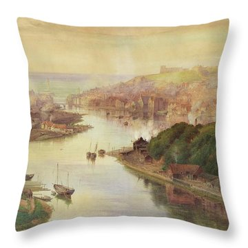 Whitby From Larpool Throw Pillow by John Sowden
