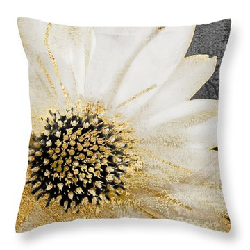 White And Gold Daisy Throw Pillow by Mindy Sommers