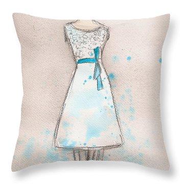 White And Teal Dress Throw Pillow by Lauren Maurer