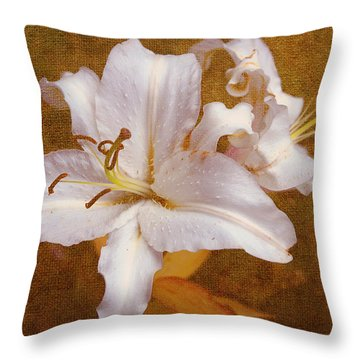 White Lilies. Time To Be Romantic Throw Pillow by Jenny Rainbow