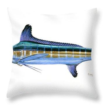 White Marlin Throw Pillow by Carey Chen