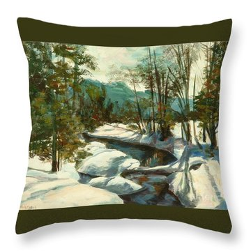 White Mountain Winter Creek Throw Pillow by Claire Gagnon