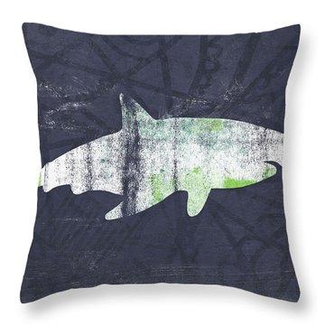White Shark- Art By Linda Woods Throw Pillow by Linda Woods