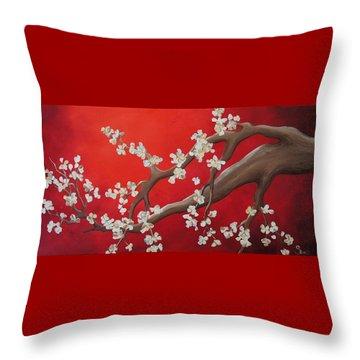 White Tree Blossoms Throw Pillow by Shiela Gosselin