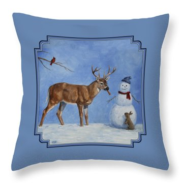 Whitetail Deer And Snowman - Whose Carrot? Throw Pillow by Crista Forest
