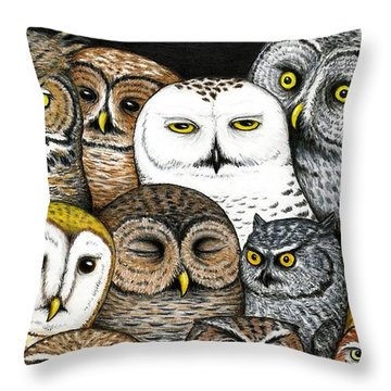 Who's Hoo Throw Pillow by Don McMahon