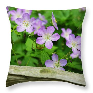 Wild Geraniums Throw Pillow by Michael Peychich