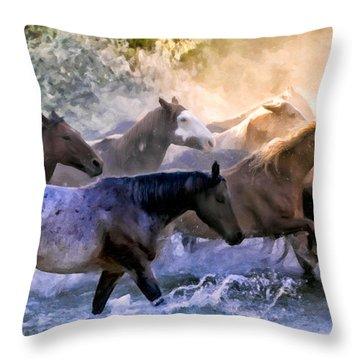 Wild Herd Throw Pillow by Janet Fikar