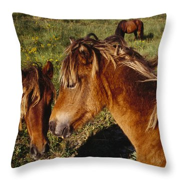 Wild Horses On Sable Island Throw Pillow by Justin Guariglia