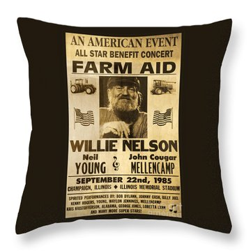 Willie Nelson Neil Young 1985 Farm Aid Poster Throw Pillow by John Stephens