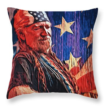 Willie Nelson Throw Pillow by Taylan Soyturk