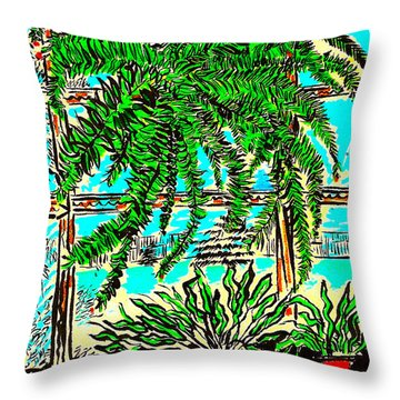 Window Loving Fern Throw Pillow by Al Goldfarb