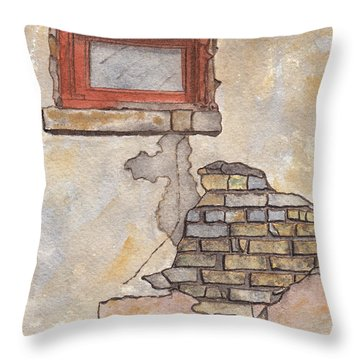 Window With Crumbling Plaster Throw Pillow by Ken Powers