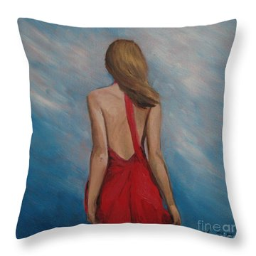 Windy Day Throw Pillow by Jindra Noewi