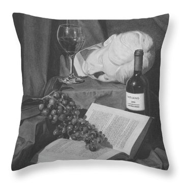 Wine And A Book Throw Pillow by Michael Malta