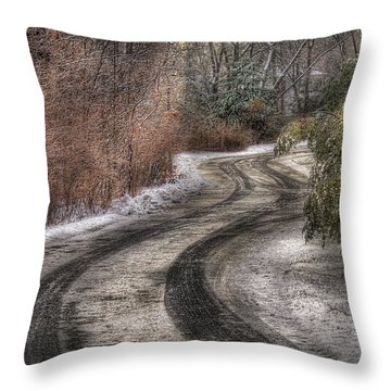 Winter - Road - The Hidden Road Throw Pillow by Mike Savad