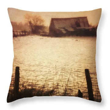Winter Barn Throw Pillow by Wim Lanclus