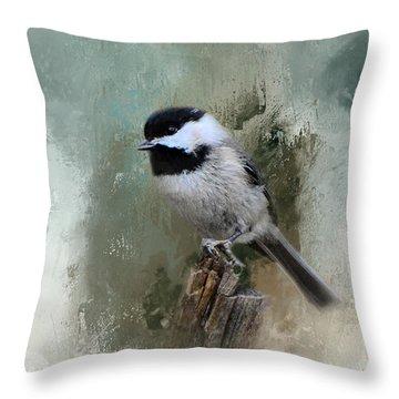 Winter Chickadee Throw Pillow by Jai Johnson
