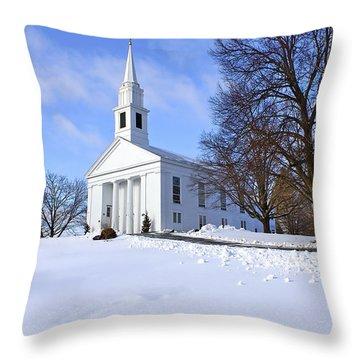Winter Church Throw Pillow by Evelina Kremsdorf