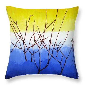 Winter Dogwood Throw Pillow by Oliver Johnston