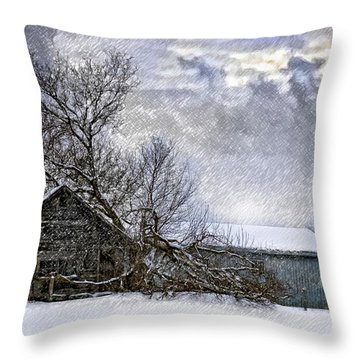 Winter Farm Throw Pillow by Steve Harrington