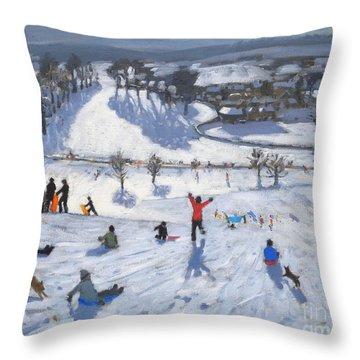 Winter Fun Throw Pillow by Andrew Macara