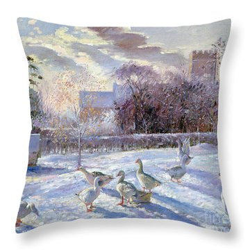Winter Geese In Church Meadow Throw Pillow by Timothy Easton