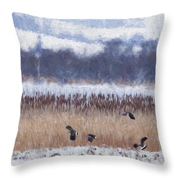 Winter Lapwings Throw Pillow by Liz Leyden
