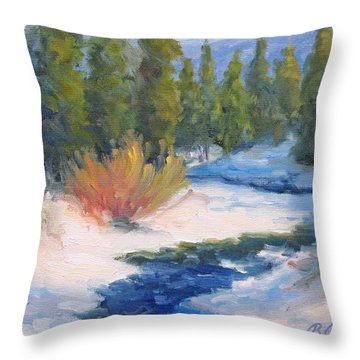 Winter On Gore Creek Throw Pillow by Bunny Oliver