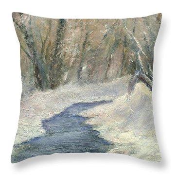 Winter On Stormcreek Throw Pillow by Gail Kirtz