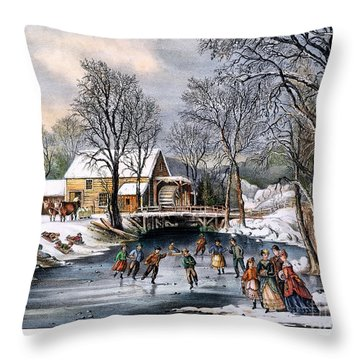 Winter Pastime, 1870 Throw Pillow by Granger