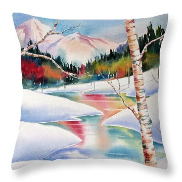 Winter's Light Throw Pillow by Deborah Ronglien