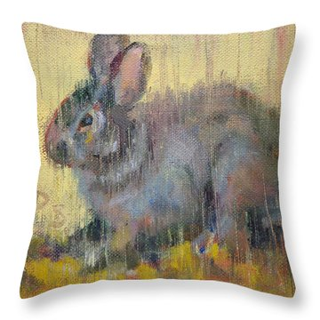Wise Rabbit Throw Pillow by Donna Shortt