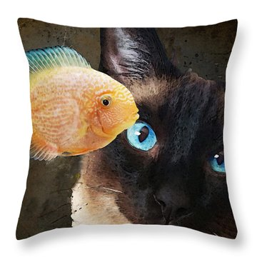 Wishful Thinking 2 - Siamese Cat Art - Sharon Cummings Throw Pillow by Sharon Cummings