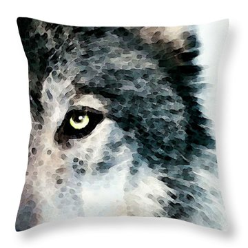 Wolf Art - Timber Throw Pillow by Sharon Cummings