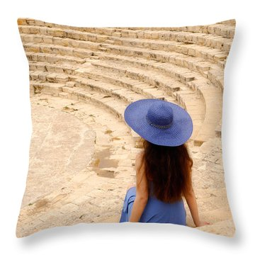 Woman At Greco-roman Theatre At Kourion Archaeological Site In C Throw Pillow by Oleksiy Maksymenko