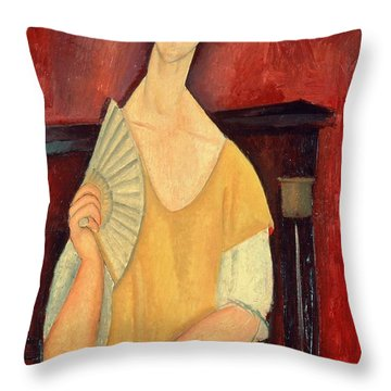 Woman With A Fan Throw Pillow by Amedeo Modigliani