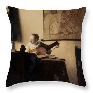 Woman With A Lute Throw Pillow by Jan Vermeer