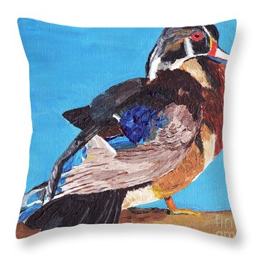 Throw Pillow featuring the painting Wood Duck by Rodney Campbell