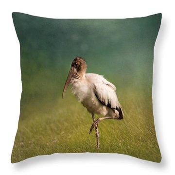 Wood Stork - Balancing Throw Pillow by Kim Hojnacki