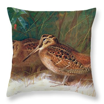 Woodcock In The Undergrowth Throw Pillow by Archibald Thorburn