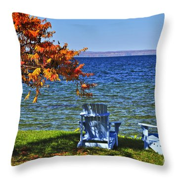 Wooden Chairs On Autumn Lake Throw Pillow by Elena Elisseeva