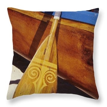 Wooden Paddle And Canoe Throw Pillow by Joss - Printscapes