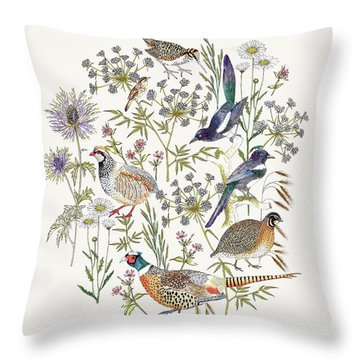 Woodland Edge Birds Placement Throw Pillow by Jacqueline Colley