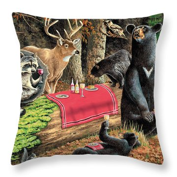 Woodland Wine Tasting Throw Pillow by JQ Licensing