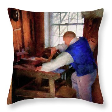 Woodworker - The Master Carpenter Throw Pillow by Mike Savad